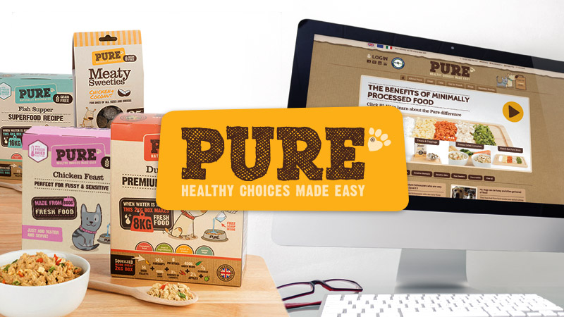 test Pure Petfood - Packaging design, website design & development